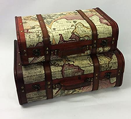 Vintage style old world map suitcase atlas design case storage trunk vintage style old world map suitcase atlas design case storage trunk wooden wedding post box gumiabroncs Images