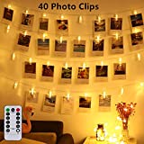 Led Photo Clip Remote String Lights, Magnoloran 40 LEDs Battery Operated Fairy Twinkle String Lights, Wedding Party Home Decor Lights for Hanging Photos, Cards and Artwork (14 Feet, Warm White)