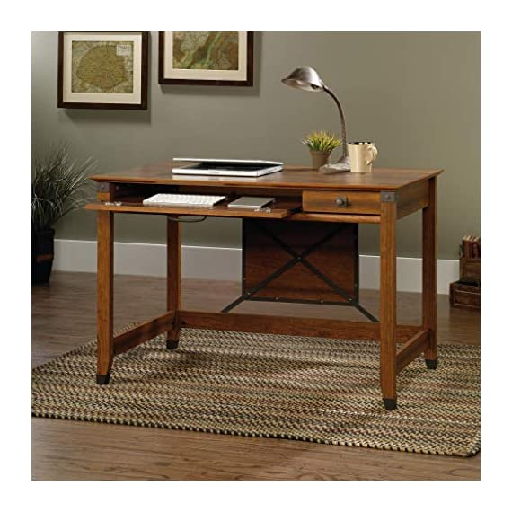 Sauder Carson Forge Writing Desk, Washington Cherry finish - Flip-down molding reveals slide-out shelf for keyboard/mouse or laptop Small drawer with metal runners and safety stops Finished on all sides for versatile placement - writing-desks, living-room-furniture, living-room - 51O5mpbBxXL. SS570  -