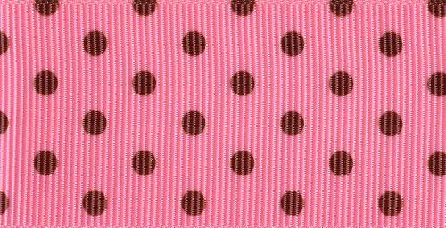 (Venus Ribbon 1-1/2-Inch Pin Dot Grosgrain Ribbon, F.Rose/Brown, 5-Yard)