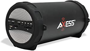 AXESS SPBT1041 Portable Thunder Sonic Bluetooth Cylinder Loud Speaker with Built-In FM Radio, SD Card, USB, AUX Inputs in Silver