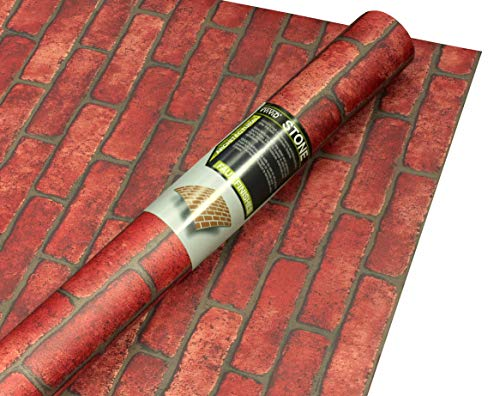 (VViViD Red Brick Faux Finish Matte Self-Adhesive Architectural Vinyl Roll (48
