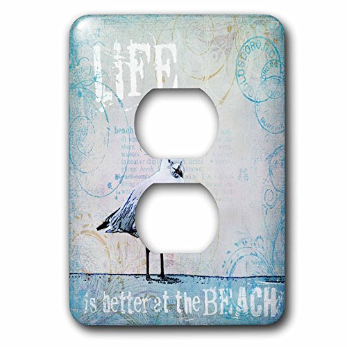 3dRose lsp_268400_6 Sea Gull Illustration with Typography Life Is Better At the Beach Plug Outlet Cover, Mixed by 3dRose