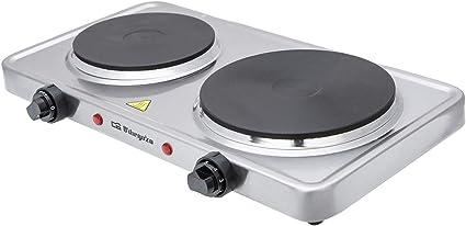 Orbegozo PE 2950 - Placa eléctrica portatil, acero inoxidable, doble hornillo (1000 W y 1500 W cada uno), 2 termostatos regulables, sistema de ...