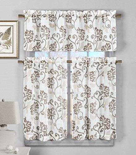 3-Piece-Semi-Sheer-Window-Curtain-Set-Floral-Vine-Deisgn-2-Tiers-1-Valance