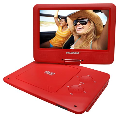 Sylvania 9-Inch Swivel Screen Portable DVD/CD/MP3 Player with 5 Hour Built-In Rechargeable Battery, USB/SD Card Reader, AC/DC Adapter, Red (Dvd Player Portable Sylvania)
