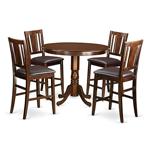 East West Furniture TRBU5-MAH-LC 5 Piece High Table and 4 Chairs Set