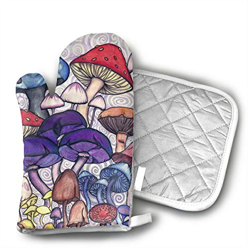 - TRENDCAT Lovely Colored Mushroom Oven Mitts and Potholders (2-Piece Sets) - Extra Long Professional Heat Resistant Pot Holder & Baking Gloves - Food Safe