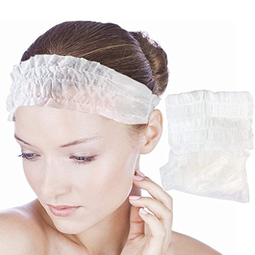 Hapdoo 100 Pieces Disposable Non-woven Spa - Spa Headbands Essential