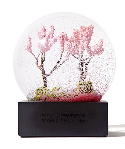 QTMY Cherry Blossoms Crystal Ball Healing Ball with Resin Stand Holder (Spring)
