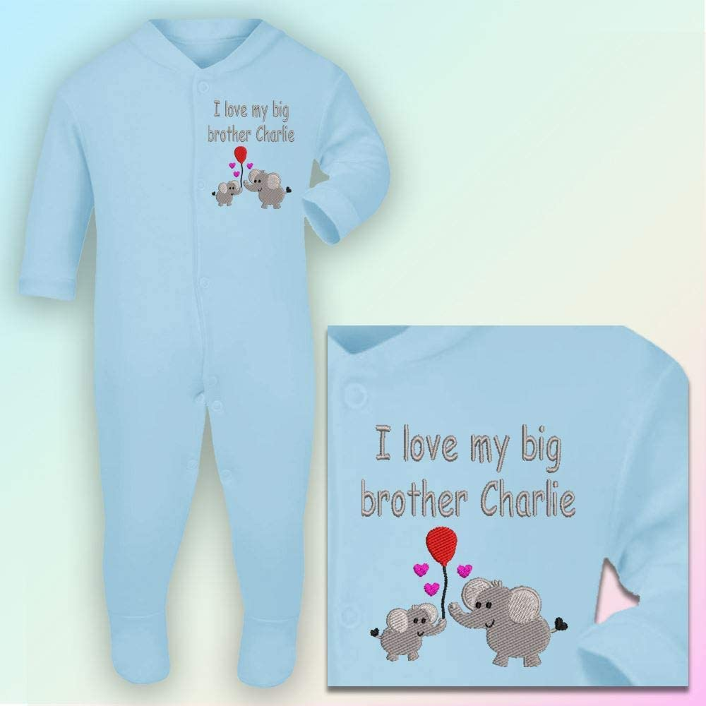 0-3 Months Embroidered Hot Pink Thread Sleepsuit in Baby Blue Personalised I Love My Big Brother