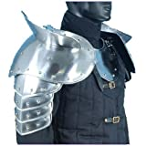 Queen Brass Medieval Gothic Fantasy Shiny Metal Gorget+Shoulder Guard Warrior Pauldron Armor Standard Silver