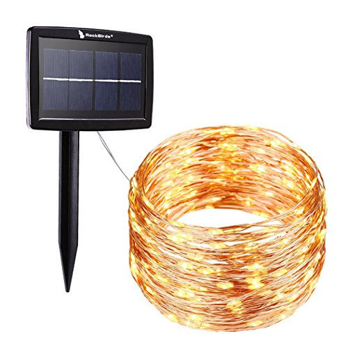 Solar Outdoor Lights Uae: RockBirds Solar String Lights , 150 LED Copper Wire Light