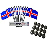 Pack of 12 4''x6'' Iceland Polyester Miniature Office Desk & Little Table Flags, 1 Dozen 4x6 Icelandic Small Mini Handheld Waving Stick Flags with 12 Flag Bases (Stands)