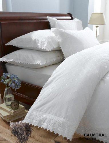 King Size Percale Duvet Cover Bedding Set White Balmoral Amazon