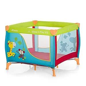 Hauck Sleep N Play SQ - Cuna parque ligero 3 piezas, 90 cm x 90 cm, cuna de viaje con base colchón y bolso de transporte, plegable y transporte fácil, ...