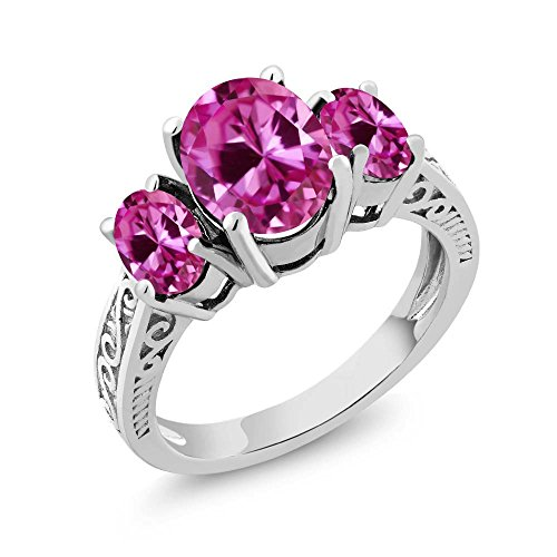 Gem Stone King 925 Sterling Silver Pink VS Created Sapphire 3-Stone Women's Ring 3.60 Ct Oval (Size 9)