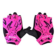 Half Finger Fitness Gloves - BOODUN 1 pair Gym Body Building Training Fitness Gloves Sports Weight Lifting Exercise Slip-Resistant Gloves For Women yoga gloves, Rose Red M