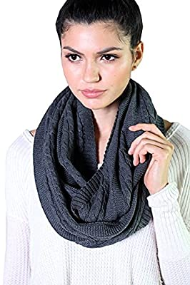 (10 COLORS) Women's 100% Organic Cotton Cable Knit Infinity Scarf, Super Soft Stretch Warm Non-Toxic