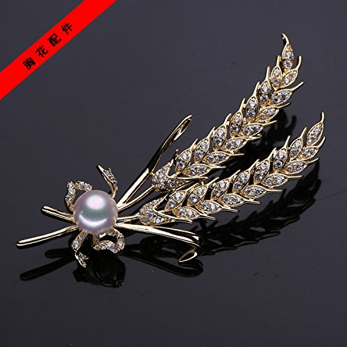 DIY accessories thick gilded natural pearl brooch Micro Pave paragraph wheat brooch brooch pectoral mountings