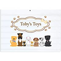 Personalized White Vintage Childrens Room Sign Brown Dogs