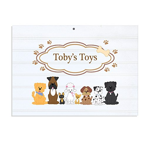 Personalized White Vintage Childrens Room Sign Brown Dogs (Personalized Dog Signs)