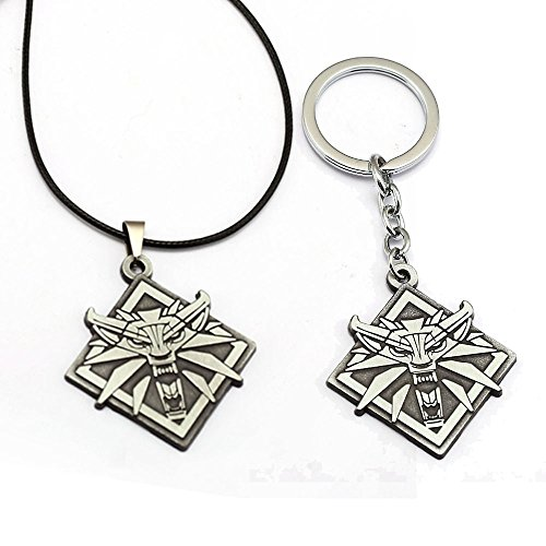 2 Piece Set: Witcher 3 - Wolf Head Keychain and Necklace
