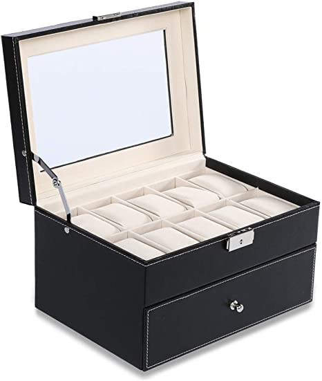 HKHJ Cajas para Relojes con 20 Compartimentos Doble Capa Estuche para Joyas de Piel Caja de Almacenamiento para Relojes o Joyería Organizadore Ventana Transparente Cajas de Regalo Joyería Accesorios: Amazon.es: Deportes y