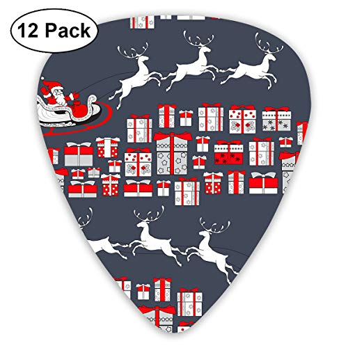 (MOANDJI Christmas Santa with Present Guitar Picks, 12 Pack Unique Designs Stylish Colorful Guitar Picks for Bass, Electric and Acoustic Guitars)
