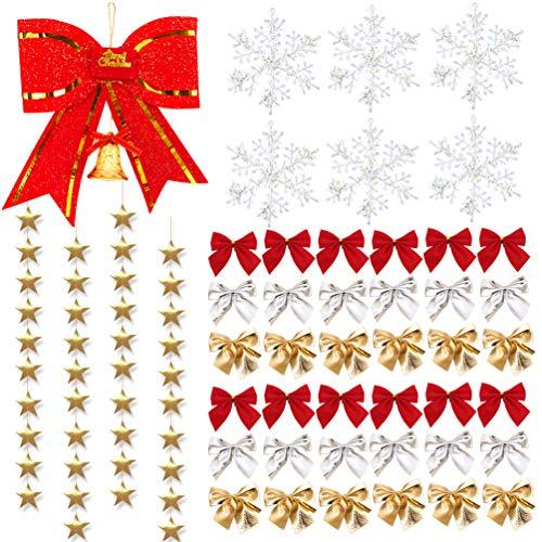 - MSKEI Tree Bows Mini Christmas Ribbon Bows, Stars Garland, Snowflake and Big Red Bowknot Set for Christmas Tree Presents Decorations Charms Ornaments