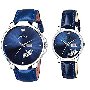 Jainx Blue Day and Date Function Analog Watch for Couple – JC477