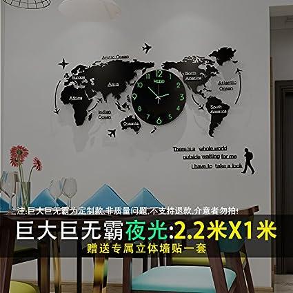 Y-Hui en el cuadro Reloj de cuarzo silenciosa Mapa del Mundo Relojes Salón Reloj