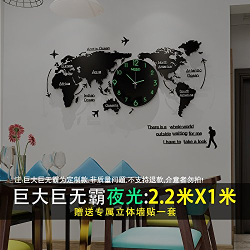 Amazon.com: Y-Hui In The Table Silent Quartz Clock World Map Clocks Living Room Wall Clock Large Clock 20 Inches Or More, (Custom) Night Of The Huge Jumbo ...