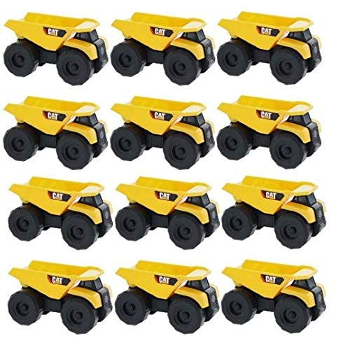 Caterpillar CAT Mini Machine Construction Truck Toy Cars Dump Trucks, Free-Wheeling Vehicles w/Moving Parts -Great Cake Toppers (12 Pack)