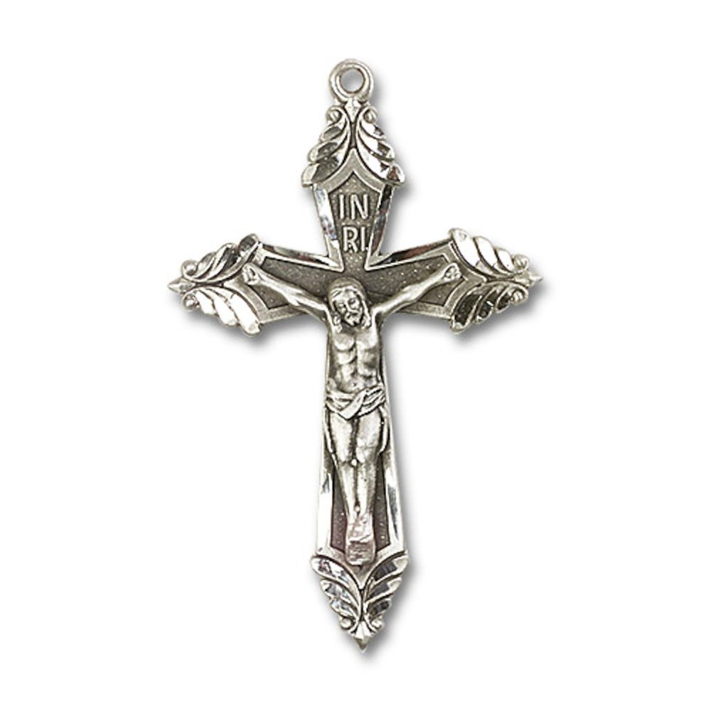 Sterling Silver Crucifix Pendant 1 7//8 X 1 1//8 inches with Heavy Curb Chain