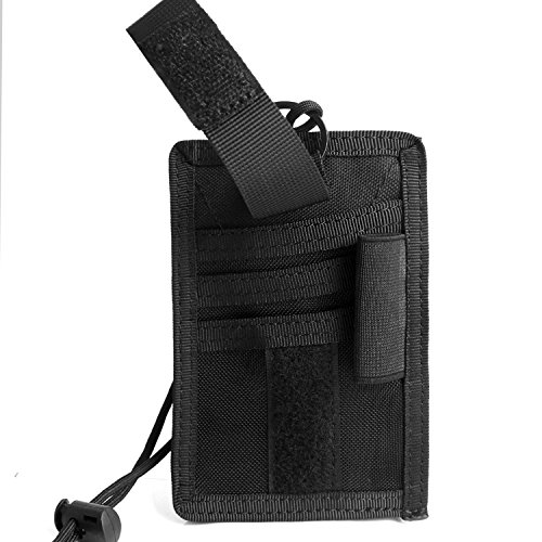 Authentic Horizontal Leather (Tactical ID Card Holder with Adjustable Neck Lanyard and Detachable Card Organizer (Black))