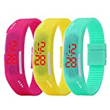 ALPS New Womens mens kids Silicone Band Touch Screen Sports LED Watch Bracelet (3 Pack)