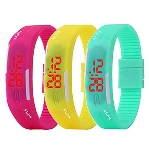 ALPS New Womens mens kids Silicone Band Touch Screen Sports LED Watch Bracelet (3 Pack) by ALPS