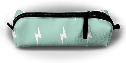 White Lightning Bolt On Mint Pen Bag Makeup Pouch Zipper Box Office Organizer Bag Pencil Case: Amazon.es: Oficina y papelería