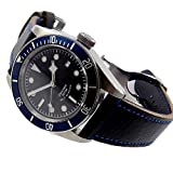 41MM Blue Bezel Black Dial 21 Jewels Miyota Automatic Movement Men's Wristwatch Sapphire Glass Luminous