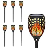 Solar Garden Lights for Halloween Christmas, OxyLED Solar Torch Light with Realistic Dancing Flames, LED Solar Tiki Torches, Waterproof Wireless Outdoor Decoration Landscape Path Light with Auto On/Off Button, Dusk to Dawn (6-pack)
