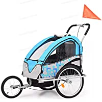 OAKOME VidaXL Children's Bike Trailer -2 Seater Kids Jogger Stroller (Blue and Grey)