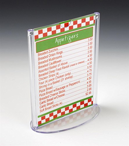 4 Top Load Card Holders - Displays2go 4 x 6 Inches Signs Top-Loading Double-Sided Injection Molded Plastic Menu Card Holders for Tabletop Use, Set of 25 (OVLBSH46TK)