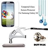 Anti-Glare Tempered Glass Ultra Durable Screen Protector with Cleaning Cloth & plastic applicator card For Samsung Galaxy S4 Android Smartphone 4G LTE (Jelly Bean) + Silver Swarovski Crystal Headphone Jack Dust Plug + BLUE Crystal Clear HD Noise Filter Ha