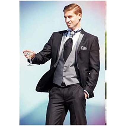 GFRBJK One Button Groom Tuxedos Black Groomsmen Peak Lapel Man ...