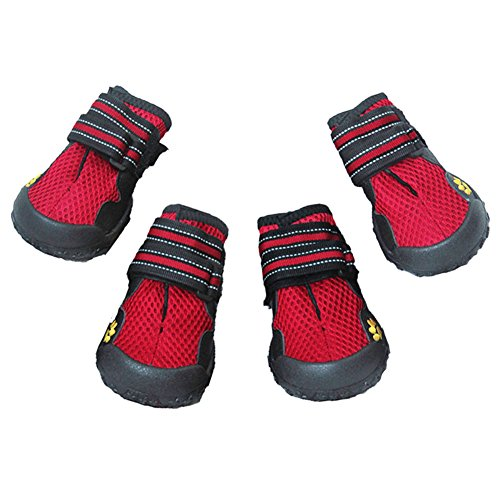 Dog Boots for Summer, Waterproof Pet Mesh Shoes , Breathable Dog Shoes Paw Protectors with Reflective Velcro and Rugged Anti-Slip Sole (4, Red)