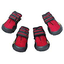 Dog Boots for Summer, Waterproof Pet Mesh Shoes, Breathable Dog Shoes Paw Protectors with Reflective Velcro and Rugged Anti-Slip Sole (4, Red)