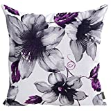 LAZAMYASA Printed Rose Cover Pillows Case Soft Throw Pillow Double Sided  Digital Printing Couch Pillowcase Square 18 X 18in,Purple