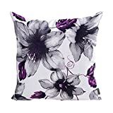Purple Throw Pillows LAZAMYASA Printed Rose Cover Pillows Case Soft Throw Pillow Double-Sided Digital Printing Couch Pillowcase Square 18 x 18in,Purple