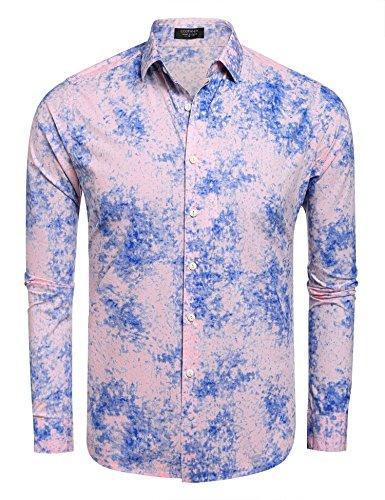 Coofandy Men's Casual Long Sleeve Button Down Shirt, Pink, Medium